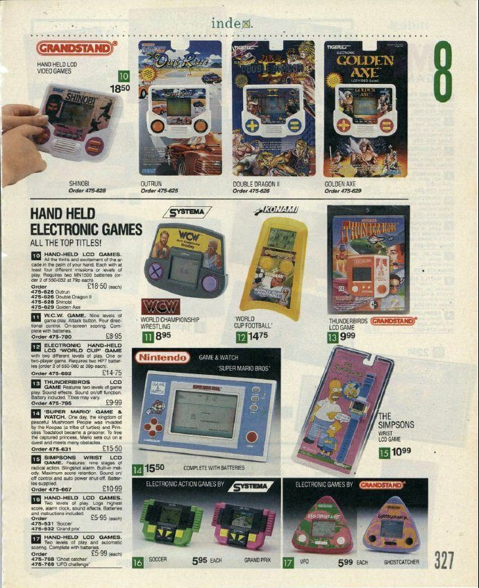 Index Catalogue 1992 - Handheld Games