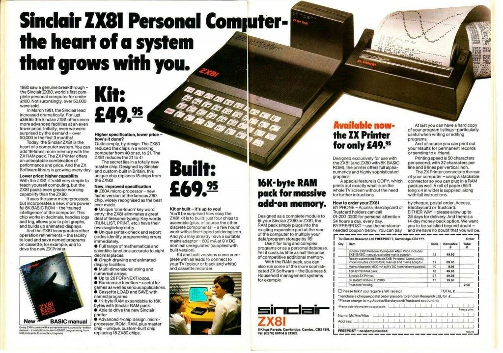 Sinclair ZX81 Full Page Advert
