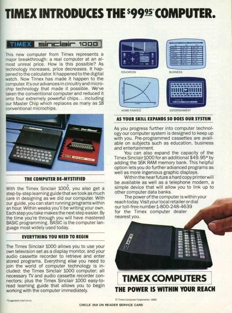 Timex ZX81 Advert