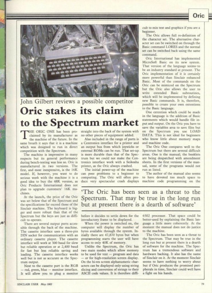 Sinclair User Oric Article