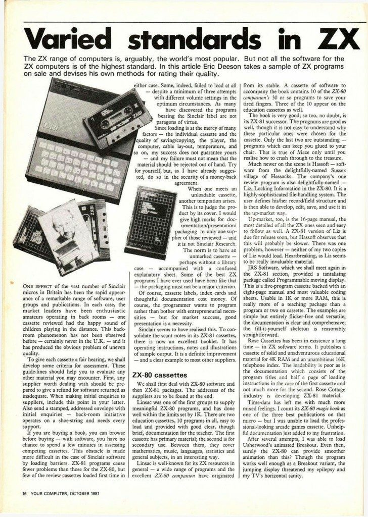 ZX81 Magazine Article